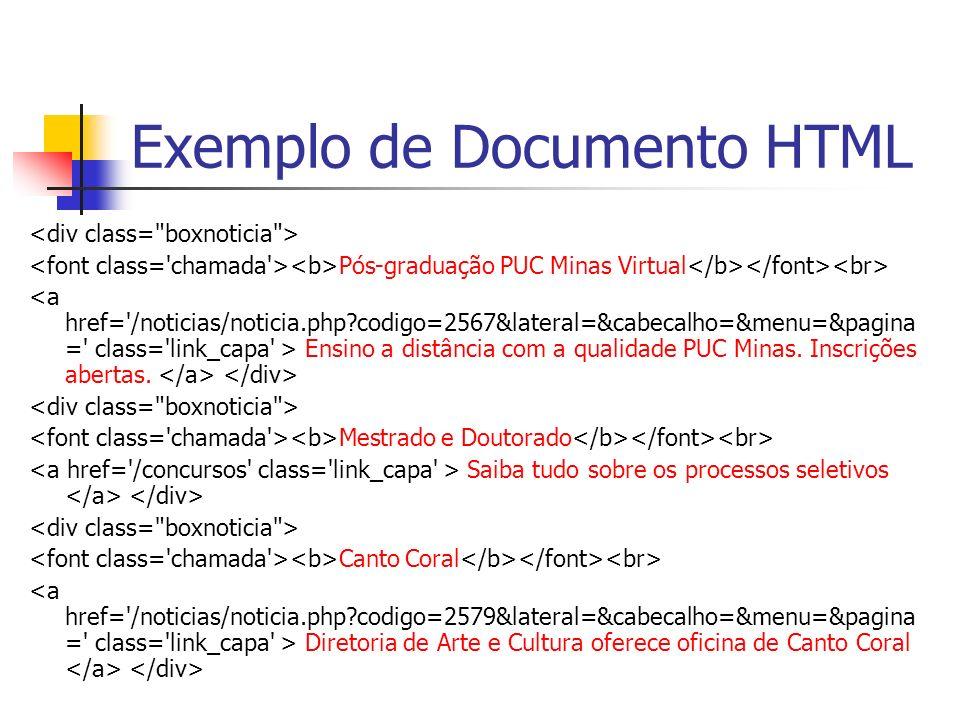 Exemplo de Documento HTML