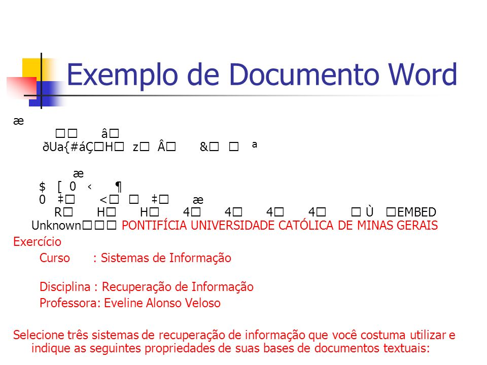 Exemplo de Documento Word