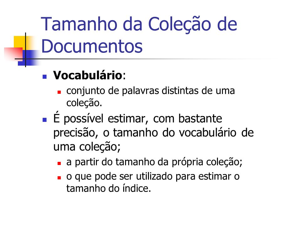 Tamanho da Coleção de Documentos