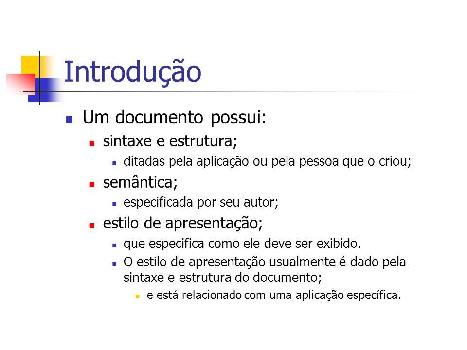 Introdução Um documento possui: sintaxe e estrutura; semântica;