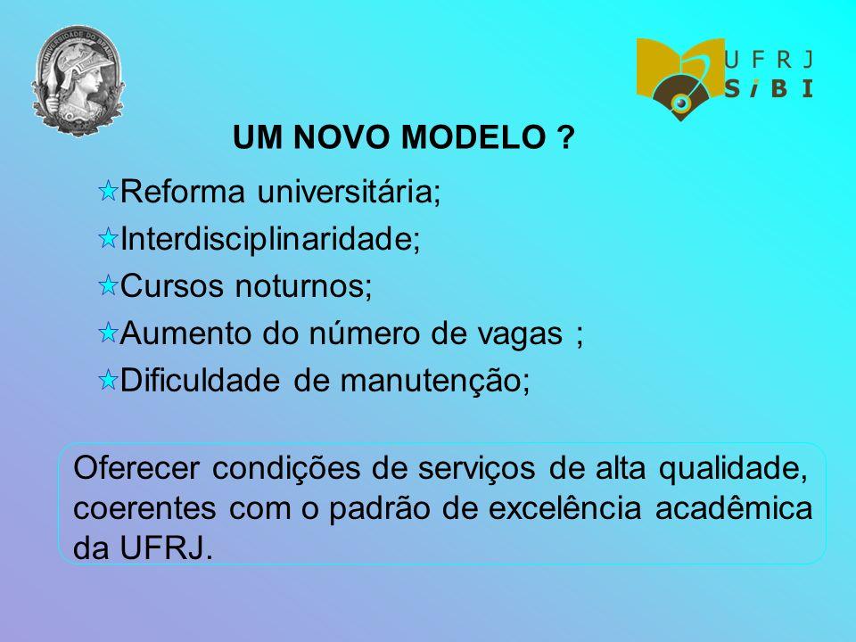 UM NOVO MODELO Reforma universitária; Interdisciplinaridade; Cursos noturnos; Aumento do número de vagas ;