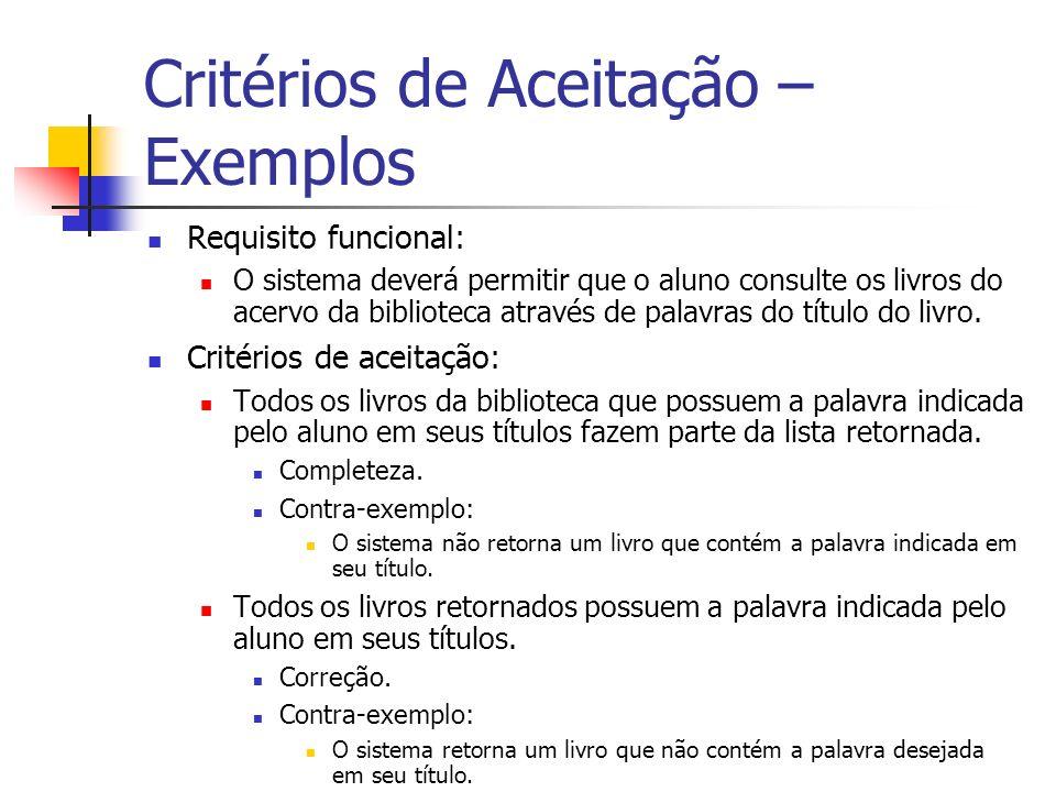 Critérios de Aceitação – Exemplos