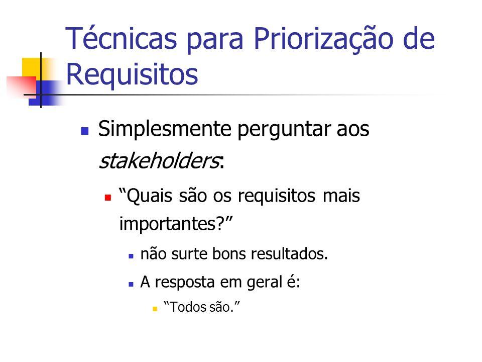 Técnicas para Priorização de Requisitos