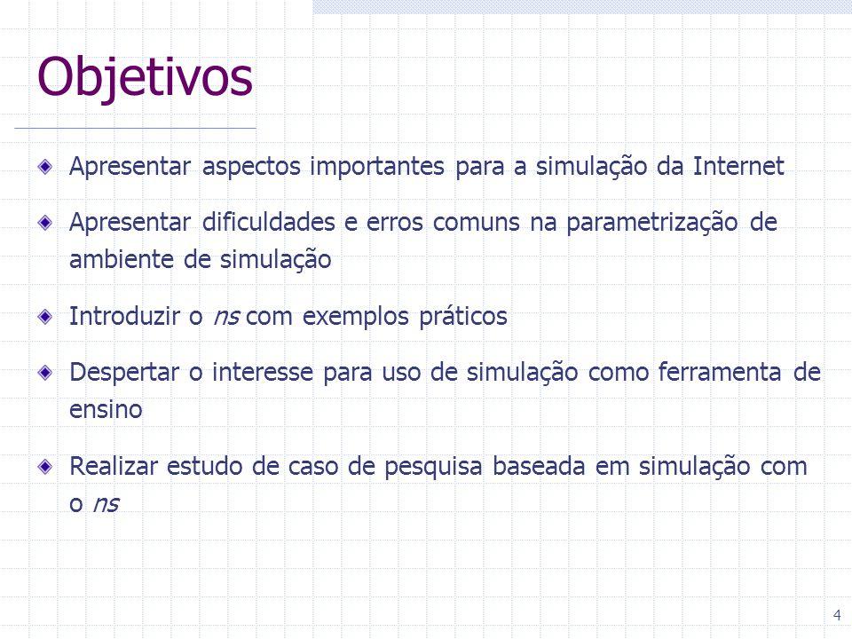 Objetivos Apresentar aspectos importantes para a simulação da Internet