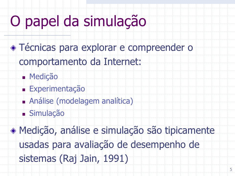 O papel da simulação Técnicas para explorar e compreender o comportamento da Internet: Medição. Experimentação.