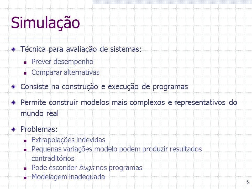 Simulação Técnica para avaliação de sistemas: