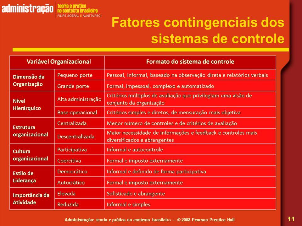 Fatores contingenciais dos sistemas de controle
