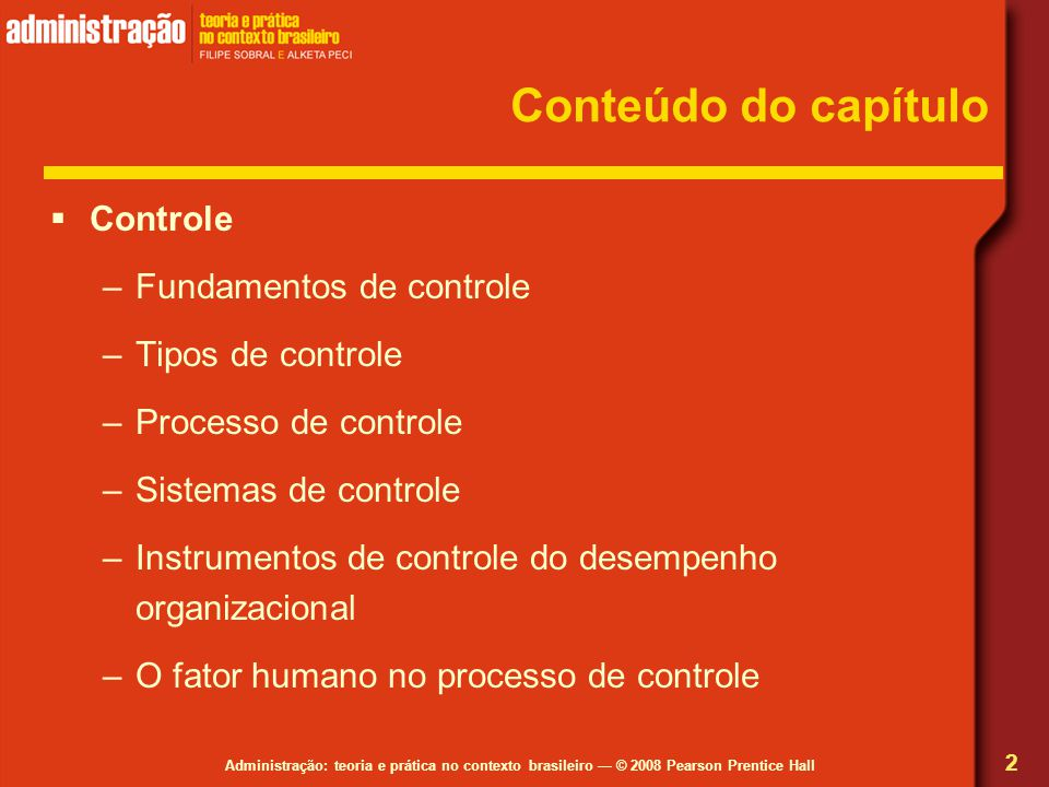 Conteúdo do capítulo Controle Fundamentos de controle