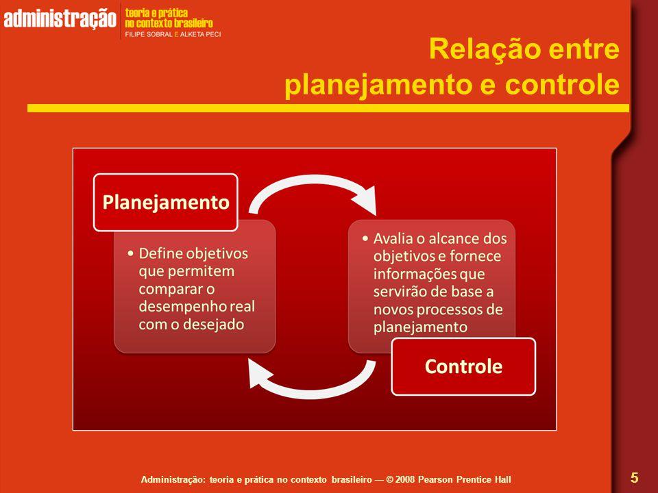 Relação entre planejamento e controle