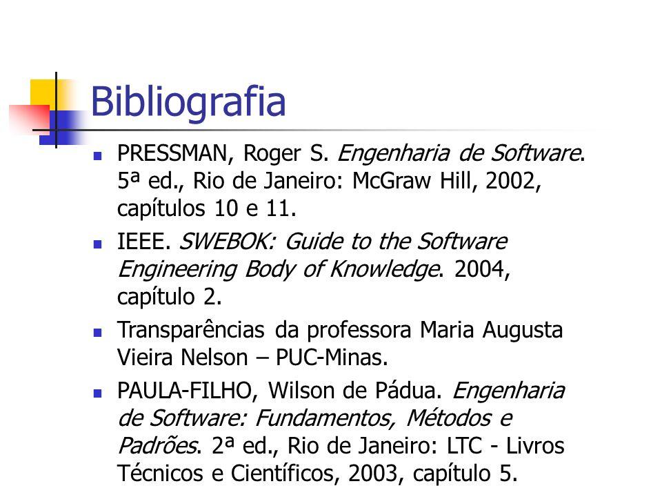 Bibliografia PRESSMAN, Roger S. Engenharia de Software. 5ª ed., Rio de Janeiro: McGraw Hill, 2002, capítulos 10 e 11.