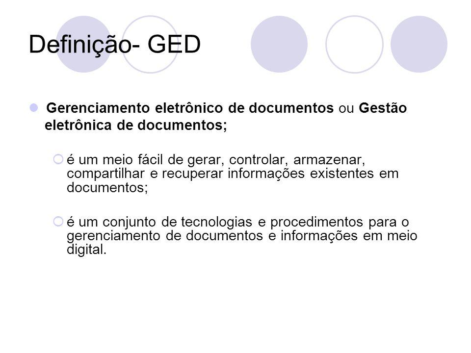 Definição- GED Gerenciamento eletrônico de documentos ou Gestão