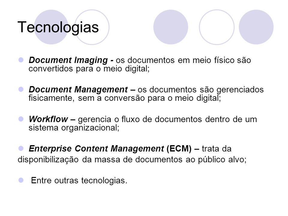 Tecnologias Document Imaging - os documentos em meio físico são convertidos para o meio digital;