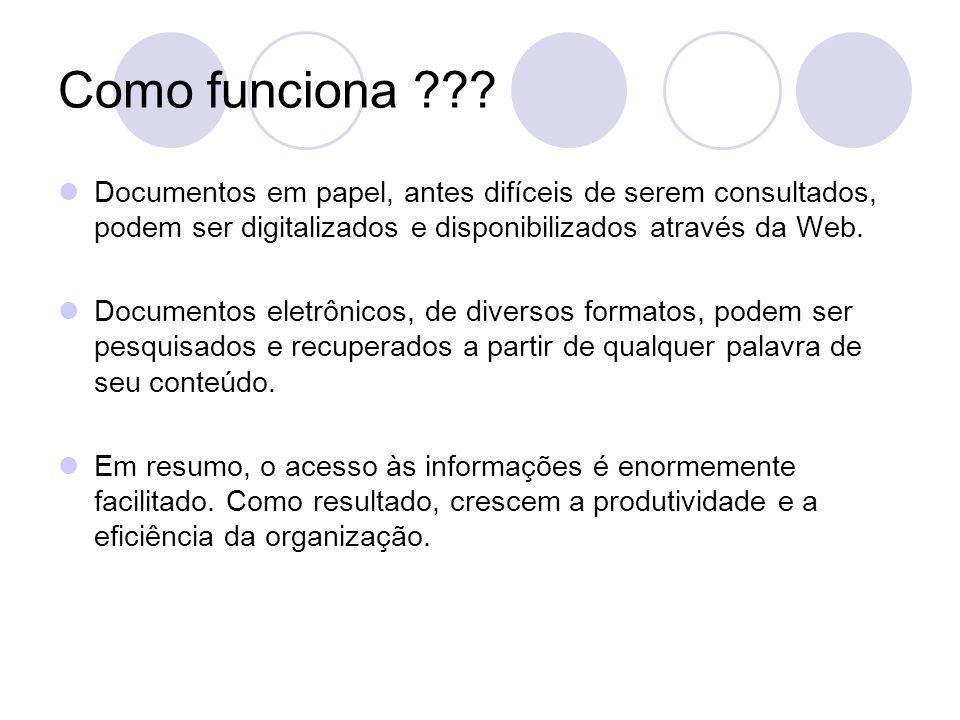 Como funciona Documentos em papel, antes difíceis de serem consultados, podem ser digitalizados e disponibilizados através da Web.