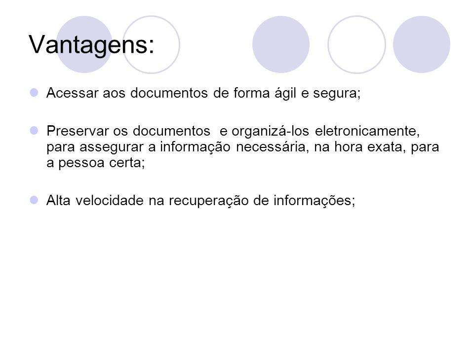 Vantagens: Acessar aos documentos de forma ágil e segura;