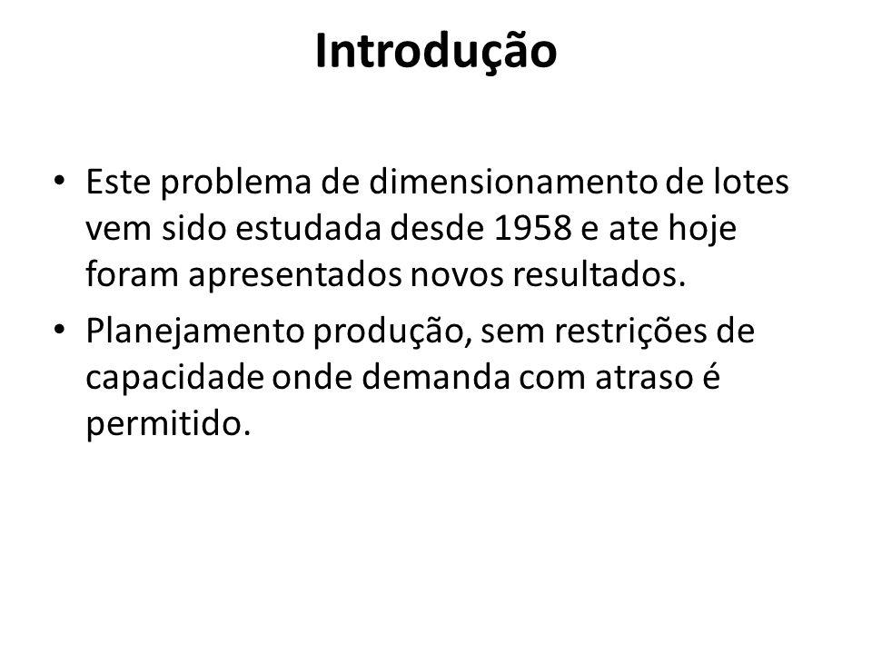 Introdução Este problema de dimensionamento de lotes vem sido estudada desde 1958 e ate hoje foram apresentados novos resultados.