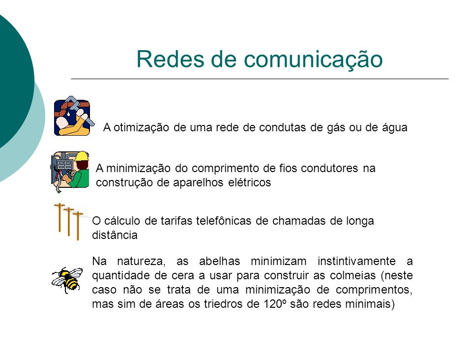 Redes de comunicação A otimização de uma rede de condutas de gás ou de água