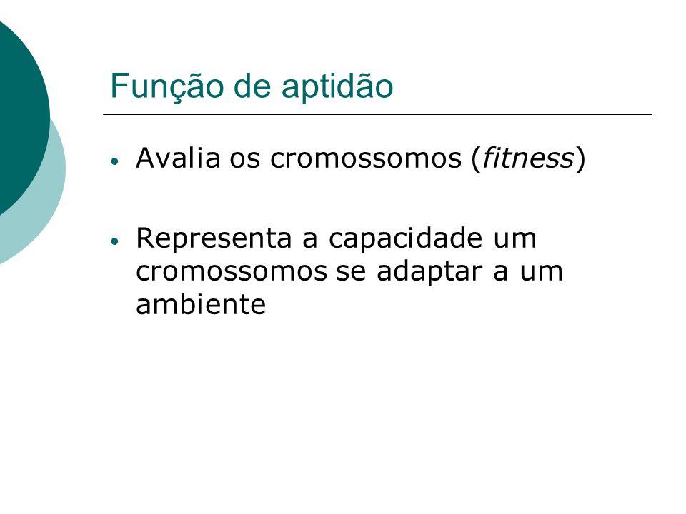 Função de aptidão Avalia os cromossomos (fitness)