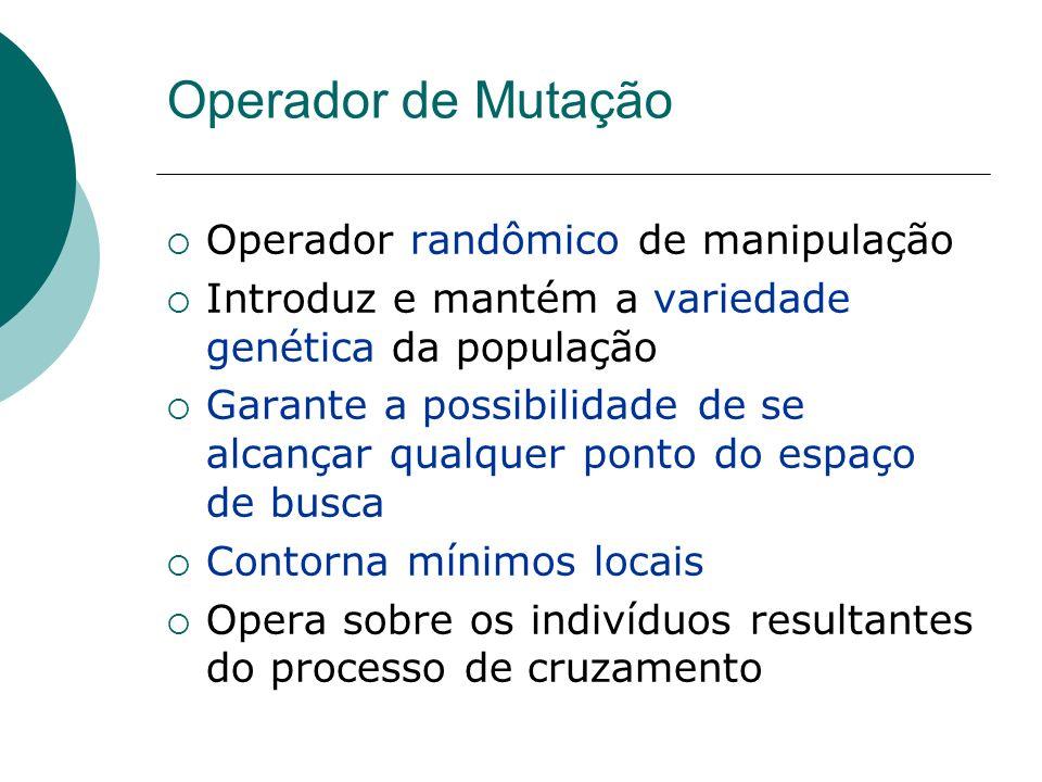 Operador de Mutação Operador randômico de manipulação