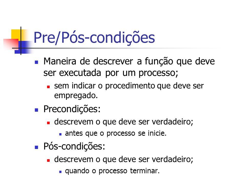 Pre/Pós-condições Maneira de descrever a função que deve ser executada por um processo; sem indicar o procedimento que deve ser empregado.