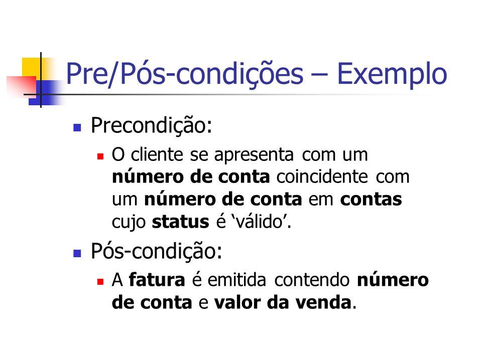 Pre/Pós-condições – Exemplo