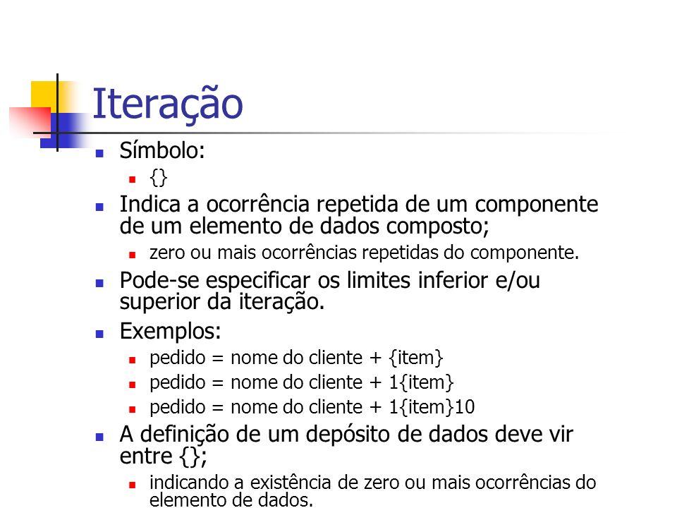Iteração Símbolo: {} Indica a ocorrência repetida de um componente de um elemento de dados composto;