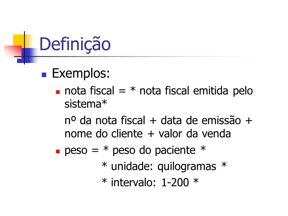 Definição Exemplos: nota fiscal = * nota fiscal emitida pelo sistema*