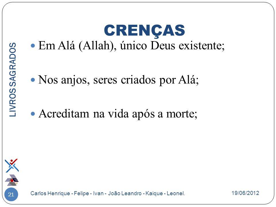 CRENÇAS Em Alá (Allah), único Deus existente;