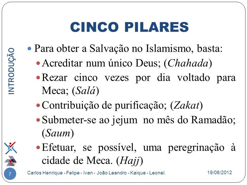 CINCO PILARES Para obter a Salvação no Islamismo, basta: