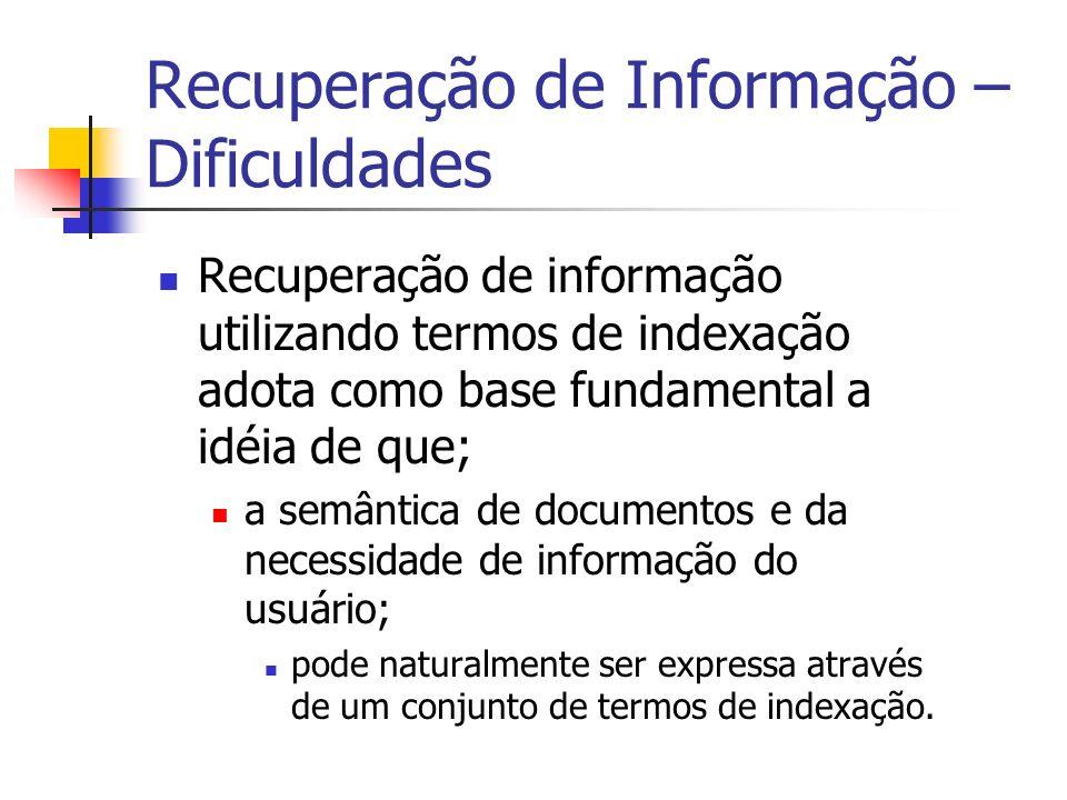 Recuperação de Informação – Dificuldades