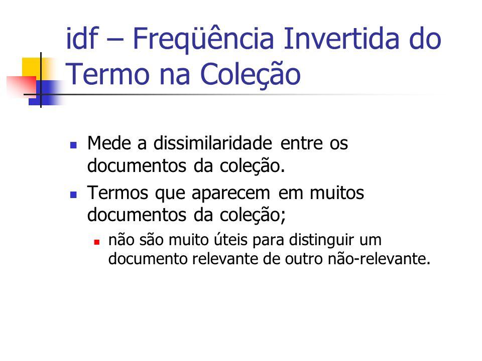 idf – Freqüência Invertida do Termo na Coleção