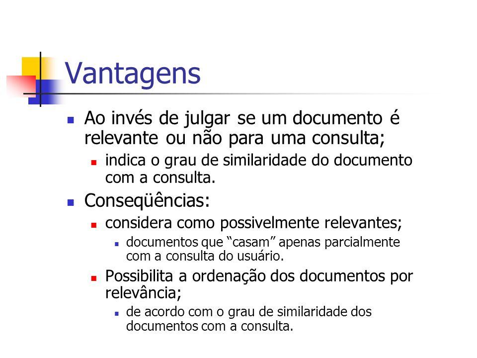 Vantagens Ao invés de julgar se um documento é relevante ou não para uma consulta; indica o grau de similaridade do documento com a consulta.