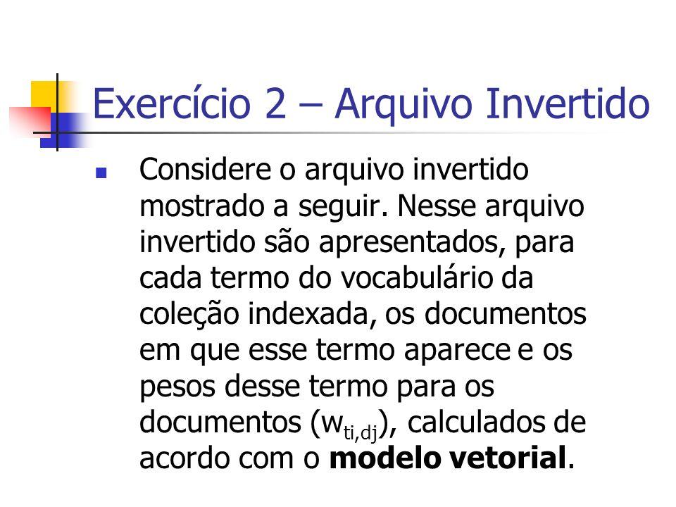 Exercício 2 – Arquivo Invertido