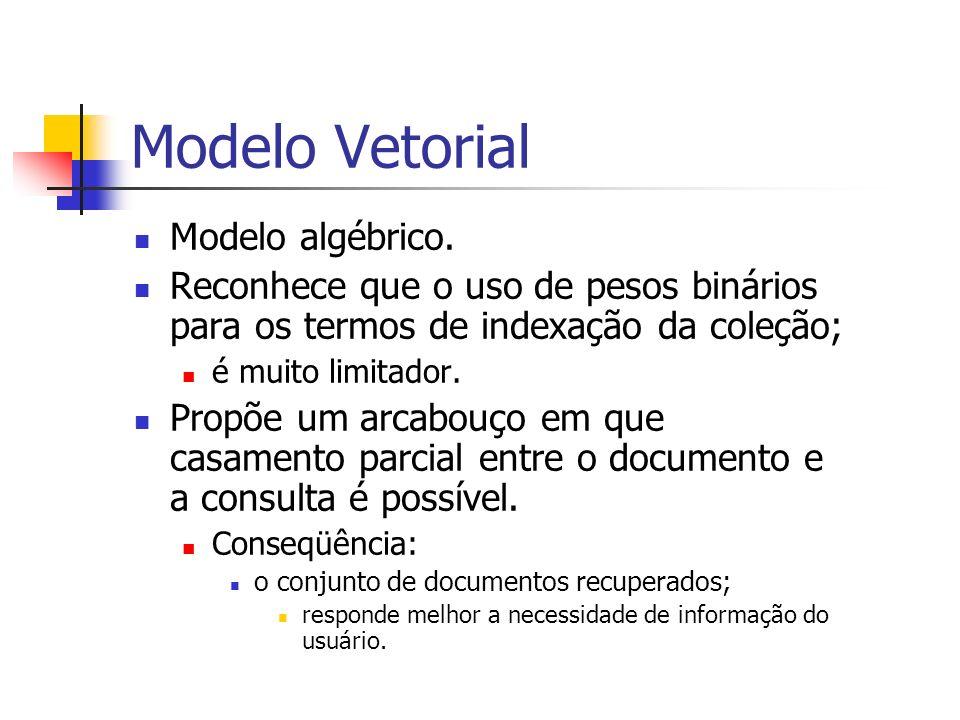 Modelo Vetorial Modelo algébrico.