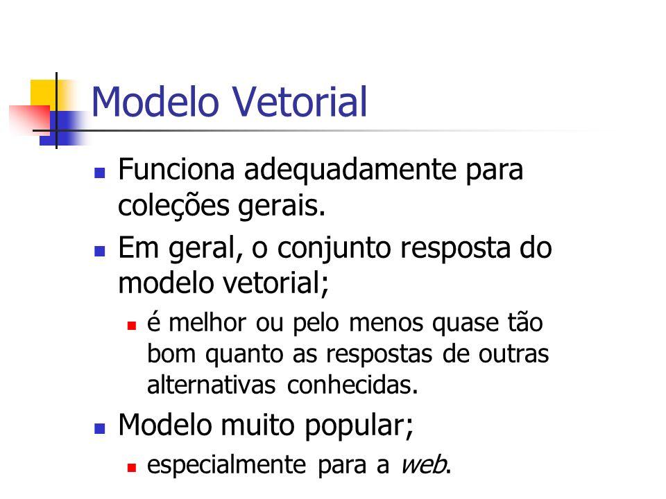 Modelo Vetorial Funciona adequadamente para coleções gerais.