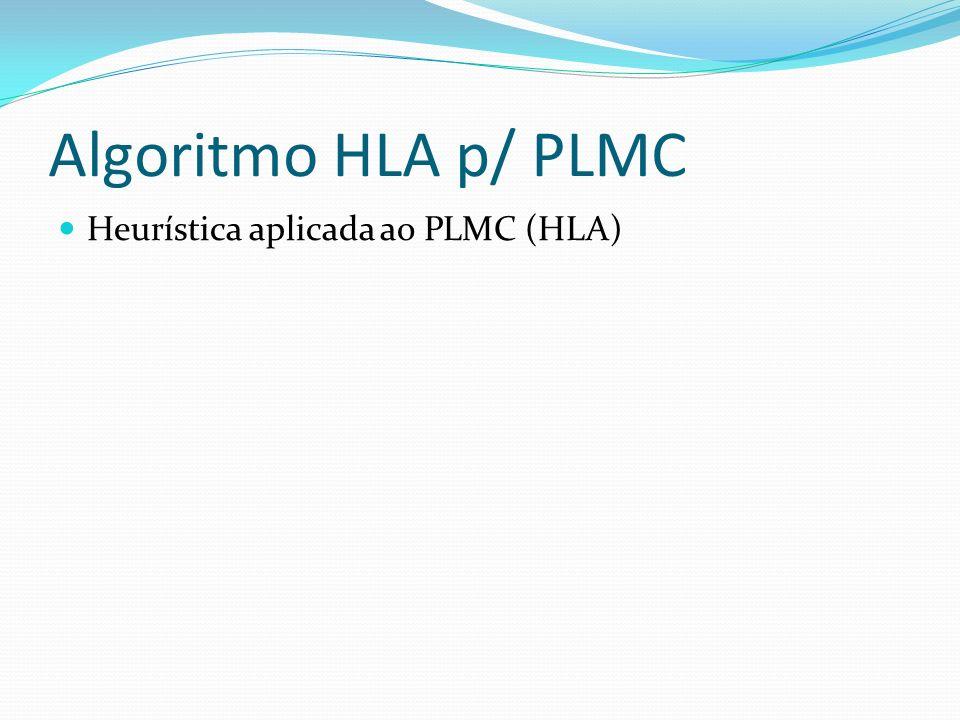 Algoritmo HLA p/ PLMC Heurística aplicada ao PLMC (HLA)