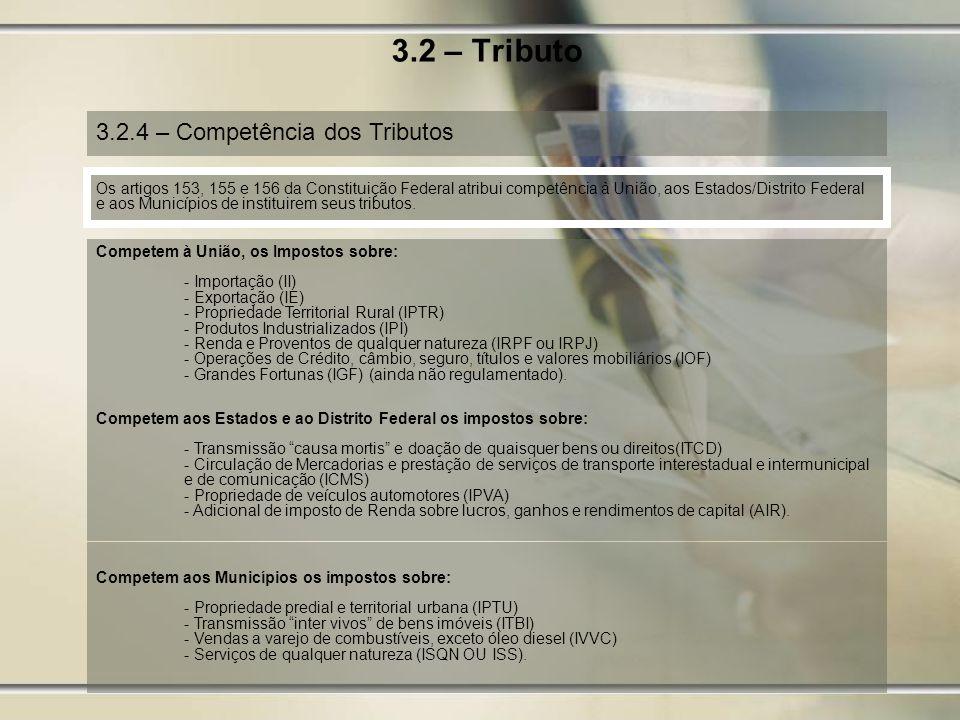 3.2 – Tributo 3.2.4 – Competência dos Tributos