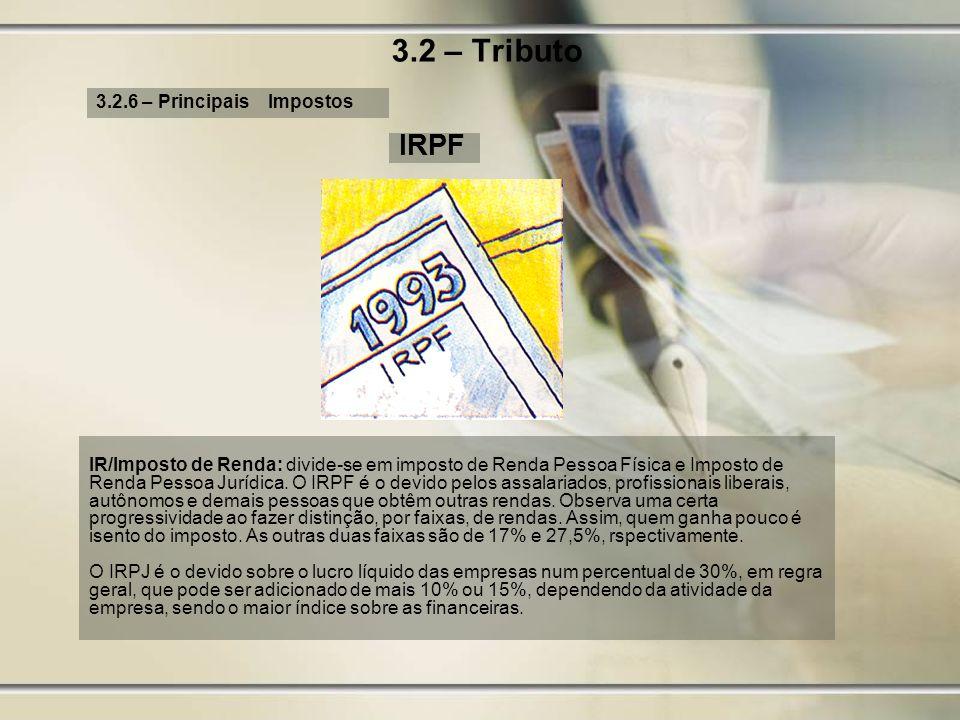 3.2 – Tributo IRPF 3.2.6 – Principais Impostos