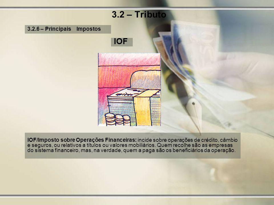 3.2 – Tributo IOF 3.2.6 – Principais Impostos