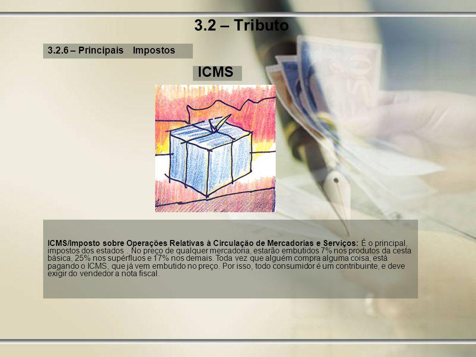 3.2 – Tributo ICMS 3.2.6 – Principais Impostos