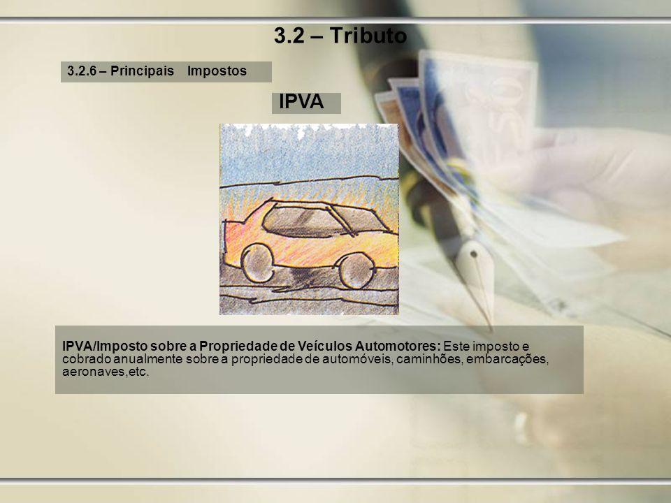 3.2 – Tributo IPVA 3.2.6 – Principais Impostos
