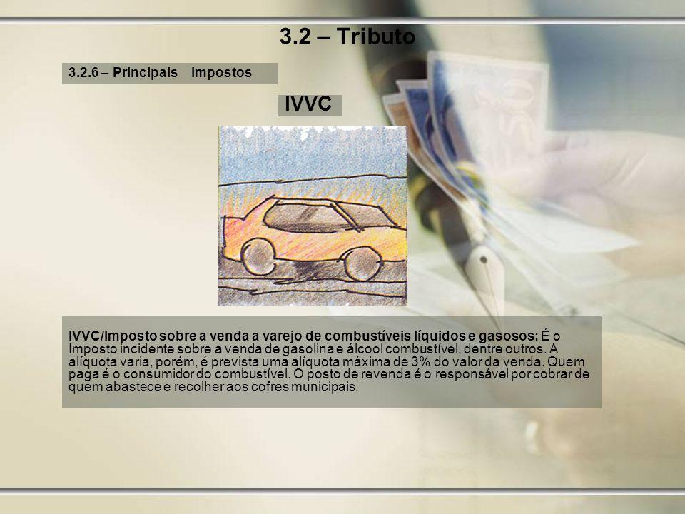 3.2 – Tributo IVVC 3.2.6 – Principais Impostos