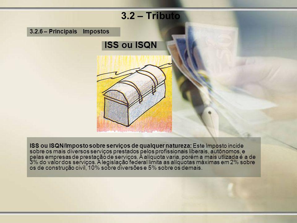 3.2 – Tributo ISS ou ISQN 3.2.6 – Principais Impostos