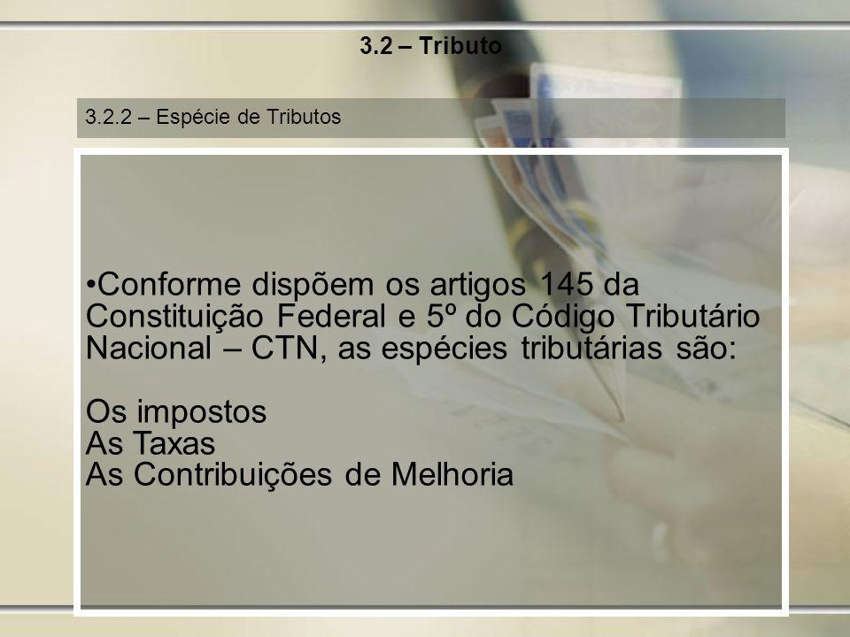 3.2 – Tributo 3.2.2 – Espécie de Tributos.