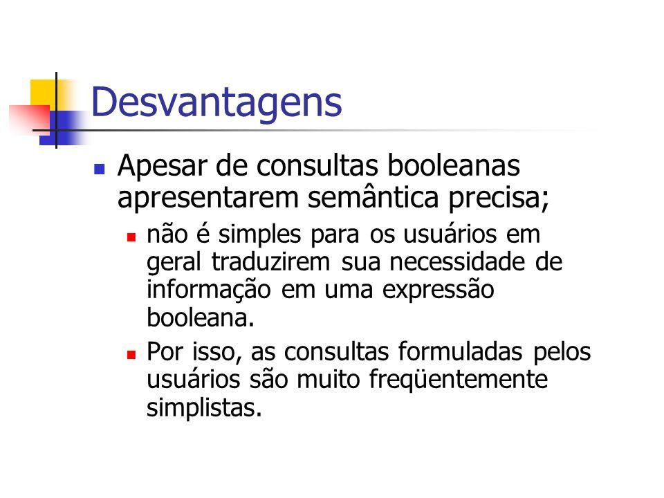 Desvantagens Apesar de consultas booleanas apresentarem semântica precisa;