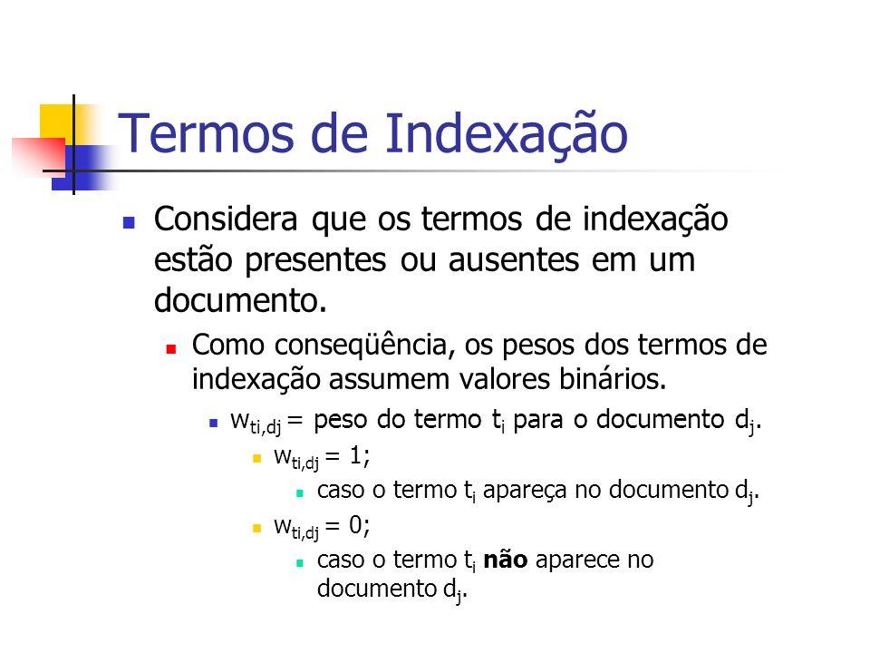Termos de IndexaçãoConsidera que os termos de indexação estão presentes ou ausentes em um documento.