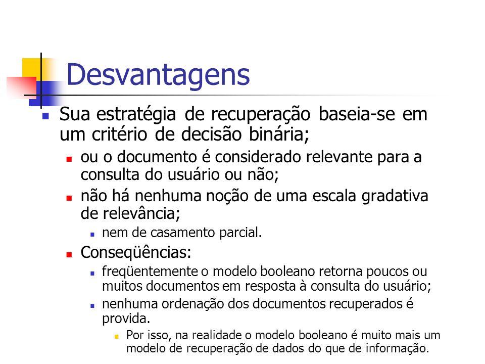 DesvantagensSua estratégia de recuperação baseia-se em um critério de decisão binária;