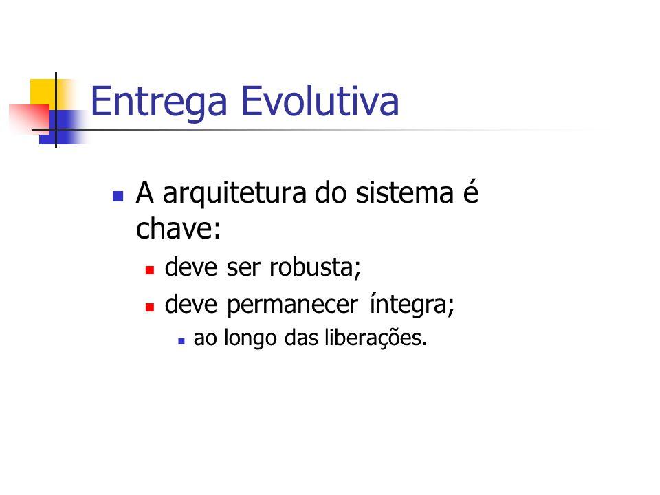 Entrega Evolutiva A arquitetura do sistema é chave: deve ser robusta;