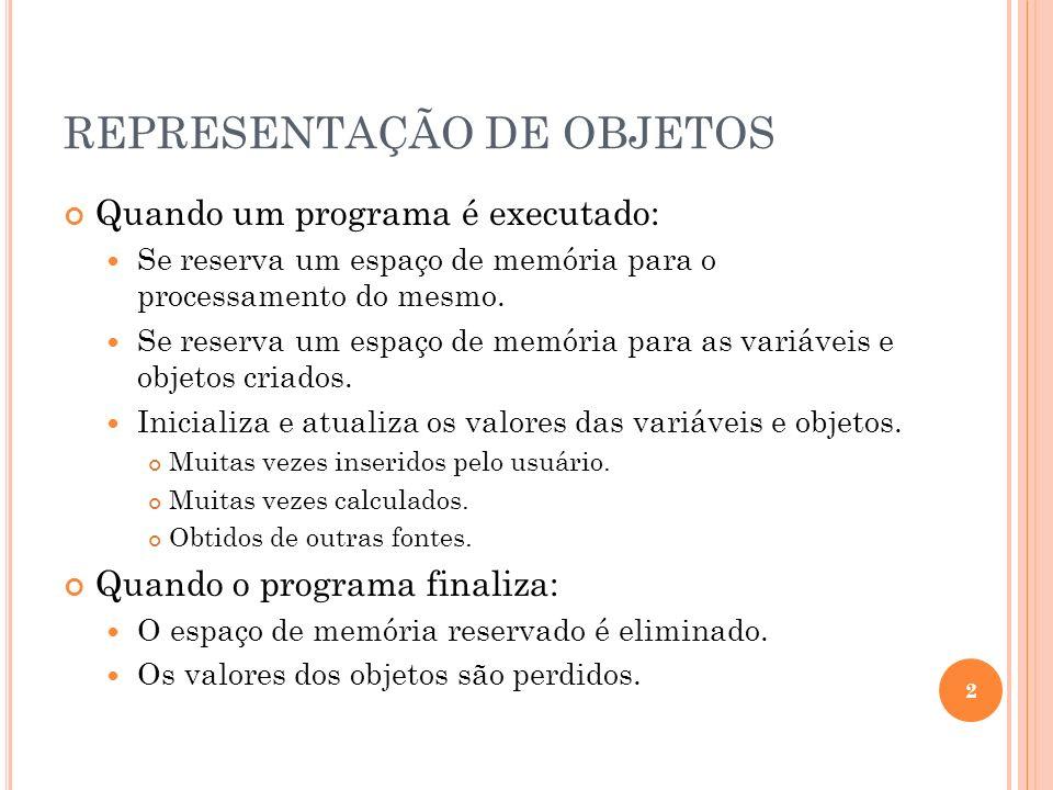 REPRESENTAÇÃO DE OBJETOS