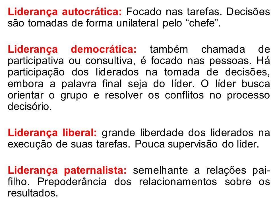 Liderança autocrática: Focado nas tarefas