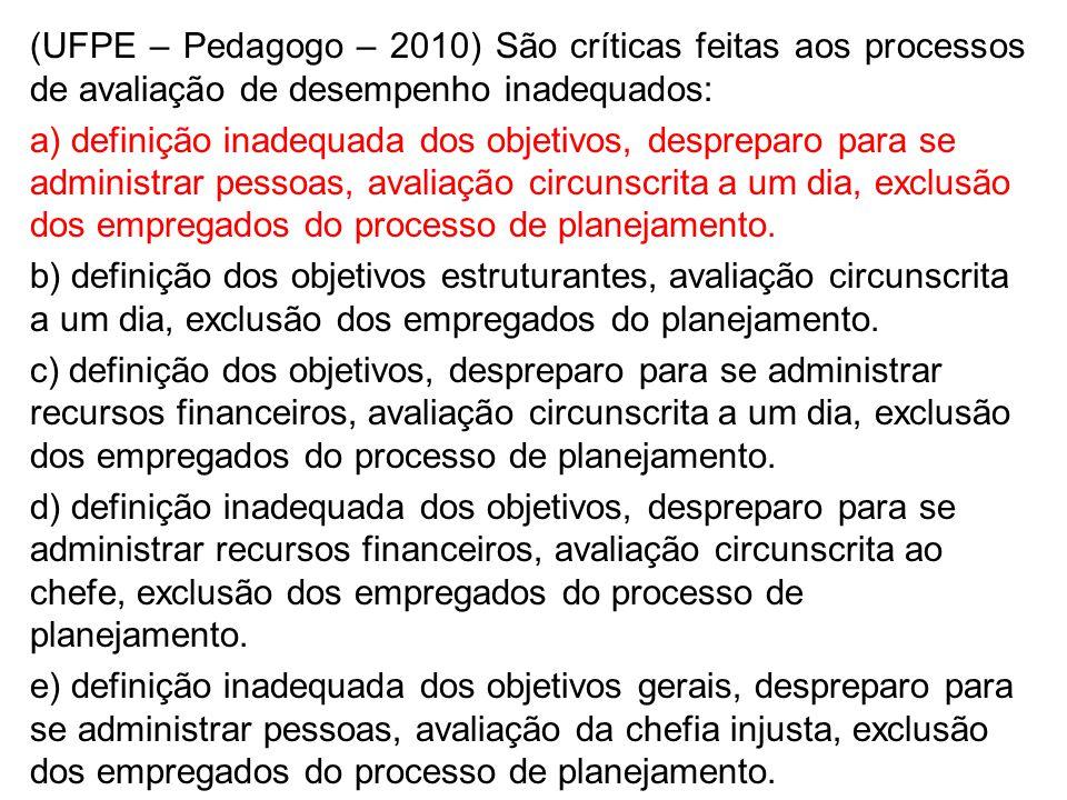 (UFPE – Pedagogo – 2010) São críticas feitas aos processos de avaliação de desempenho inadequados: